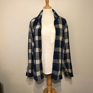 EUC-J.Crew Plaid Button Up Long Sleeved Top-Large